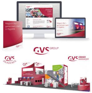 GVS Group – Website, Firmen-, Akademie-, und Ordermanager-Logo und Messestand