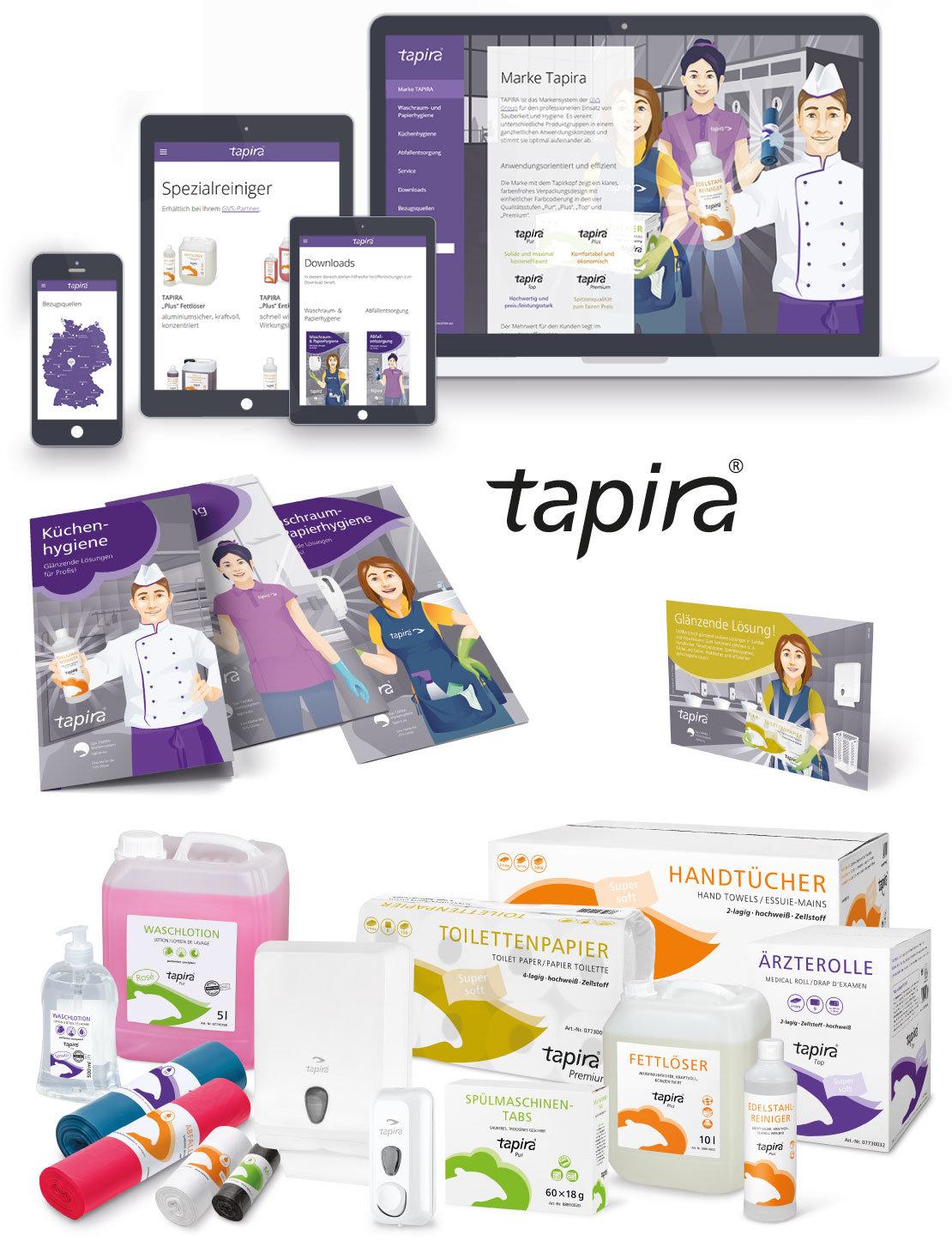 Tapira – Internetauftritt, Folder, Anzeige, Verpackungsdesign