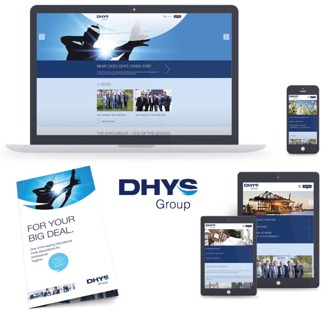 DHYS Group – responsive Website, Flyer und Logo